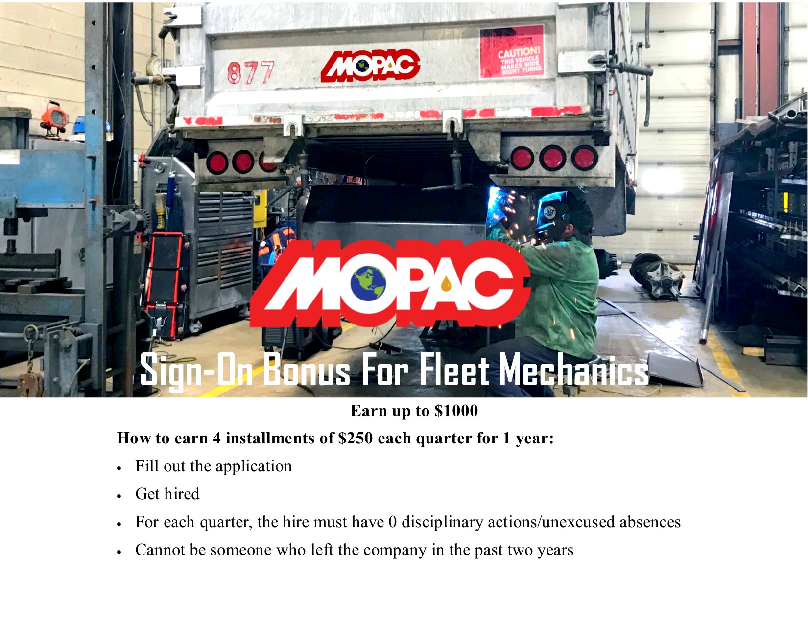 MOPAC Diesel Mechanic Job Sign On Bonus